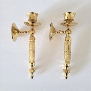 Pair of Lacquered Brass Wall Candle Sticks Holders